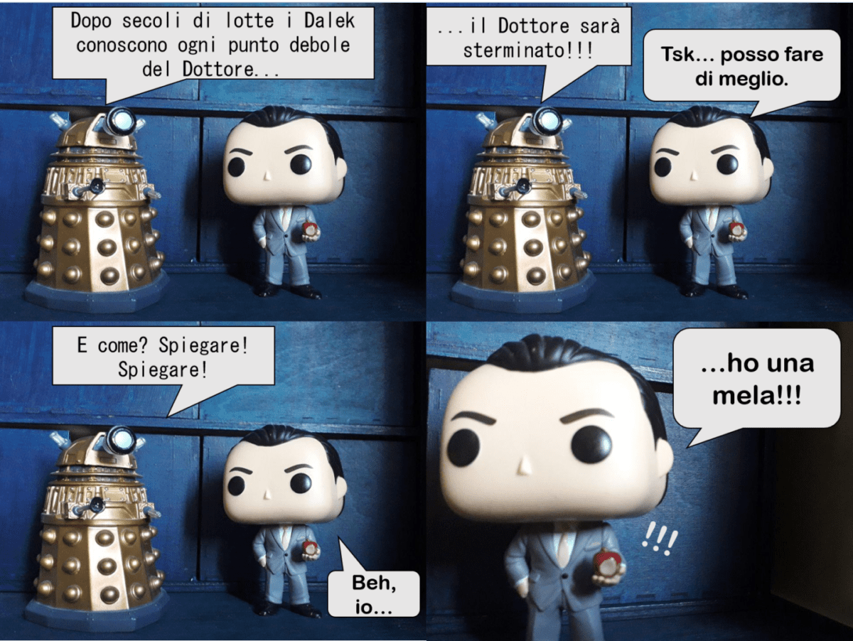 "EPISODIO VII. ""An apple a day keeps the doctor away"", o almeno così dicono.  Ma... chi è più cattivo tra un Dalek e Jim Moriarty???"