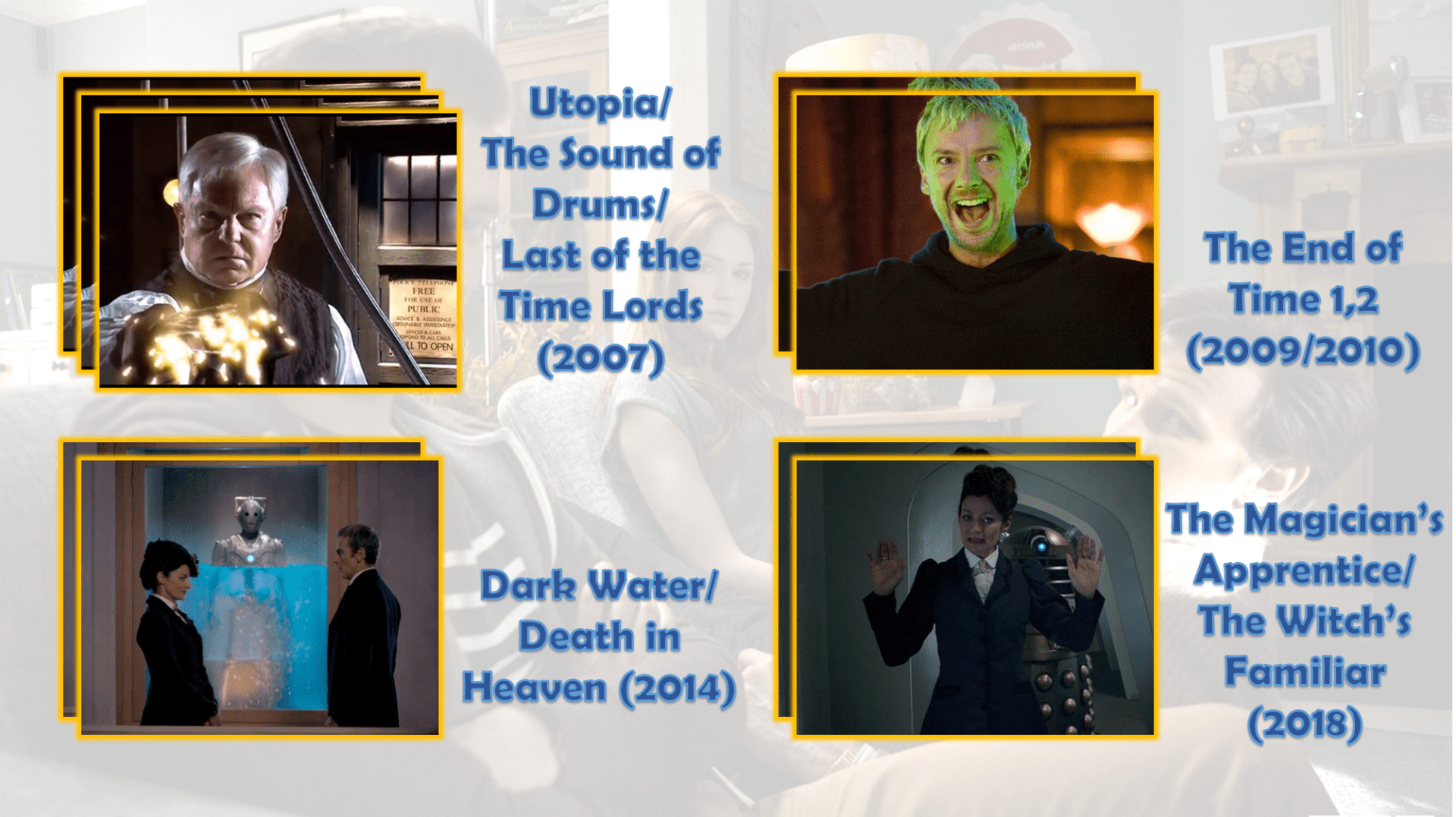Fun Fact: Missy appare in tutta la seconda metà della decima stagione - escluso il settimo episodio - diventando praticamente la terza companion del Dottore, dopo Bill e Nardole.